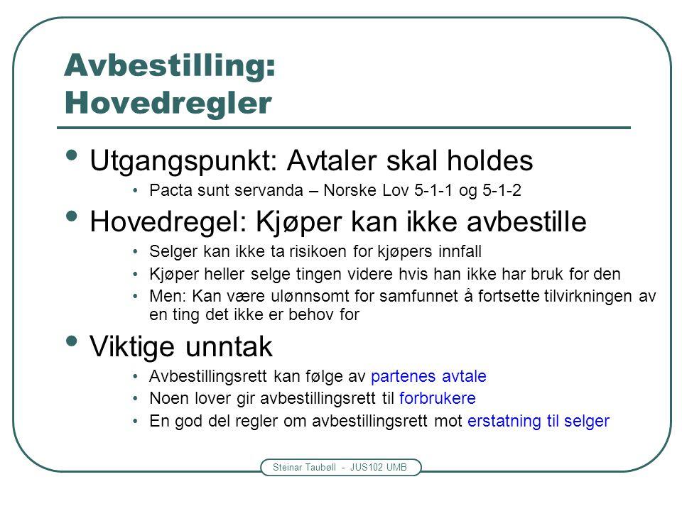 Steinar Taubøll - JUS102 UMB Avbestilling: Hovedregler Utgangspunkt: Avtaler skal holdes Pacta sunt servanda – Norske Lov 5-1-1 og 5-1-2 Hovedregel: K