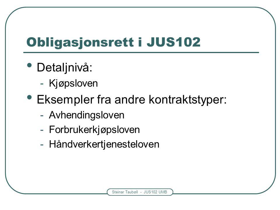 Steinar Taubøll - JUS102 UMB Obligasjonsrett i JUS102 Detaljnivå: -Kjøpsloven Eksempler fra andre kontraktstyper: -Avhendingsloven -Forbrukerkjøpslove