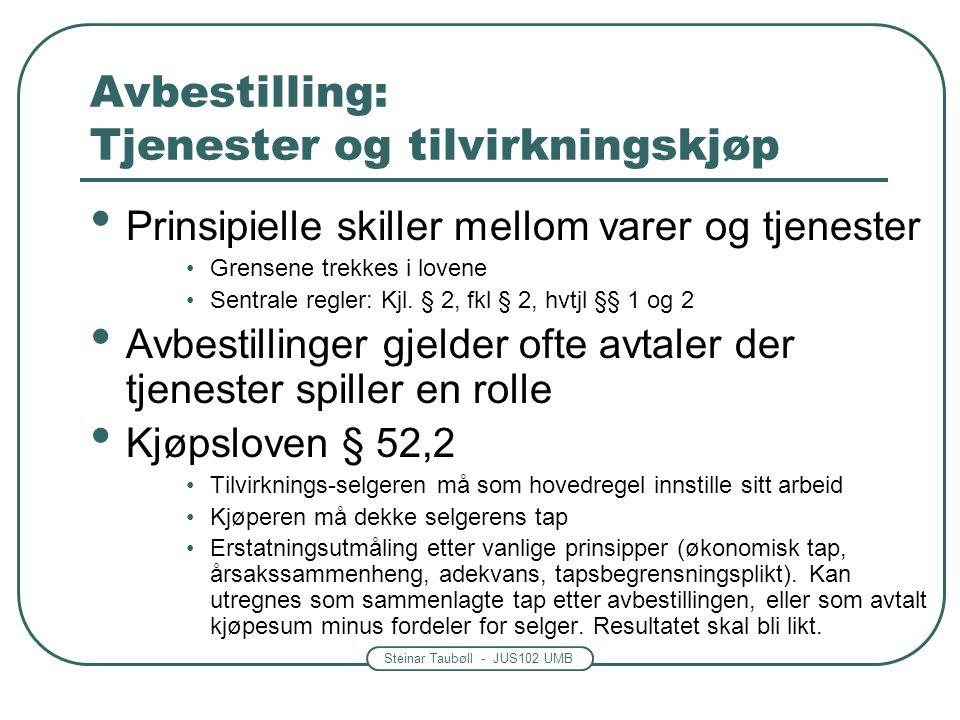 Steinar Taubøll - JUS102 UMB Avbestilling: Tjenester og tilvirkningskjøp Prinsipielle skiller mellom varer og tjenester Grensene trekkes i lovene Sent
