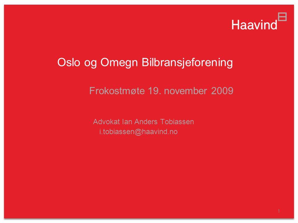1 Oslo og Omegn Bilbransjeforening Frokostmøte 19.