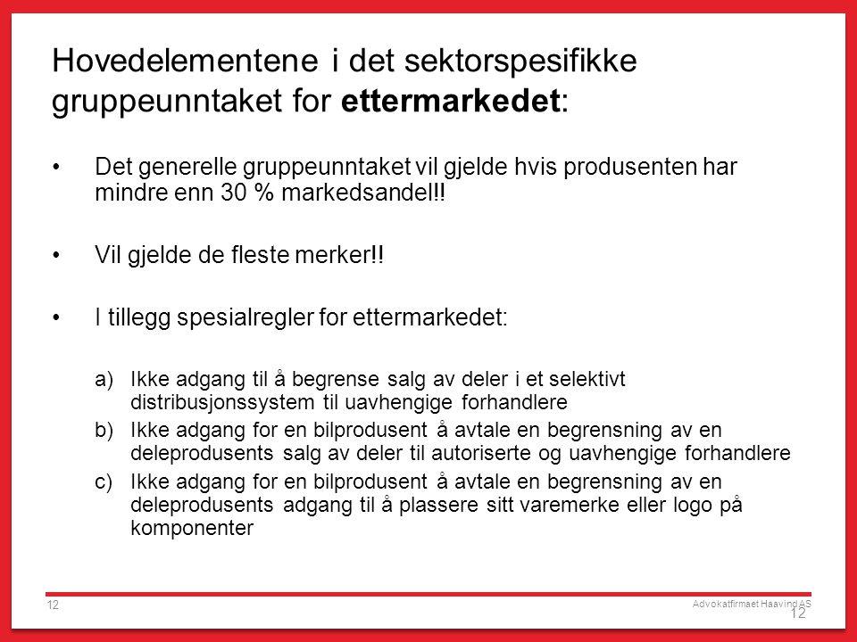 Advokatfirmaet Haavind AS 12 Hovedelementene i det sektorspesifikke gruppeunntaket for ettermarkedet: Det generelle gruppeunntaket vil gjelde hvis produsenten har mindre enn 30 % markedsandel!.