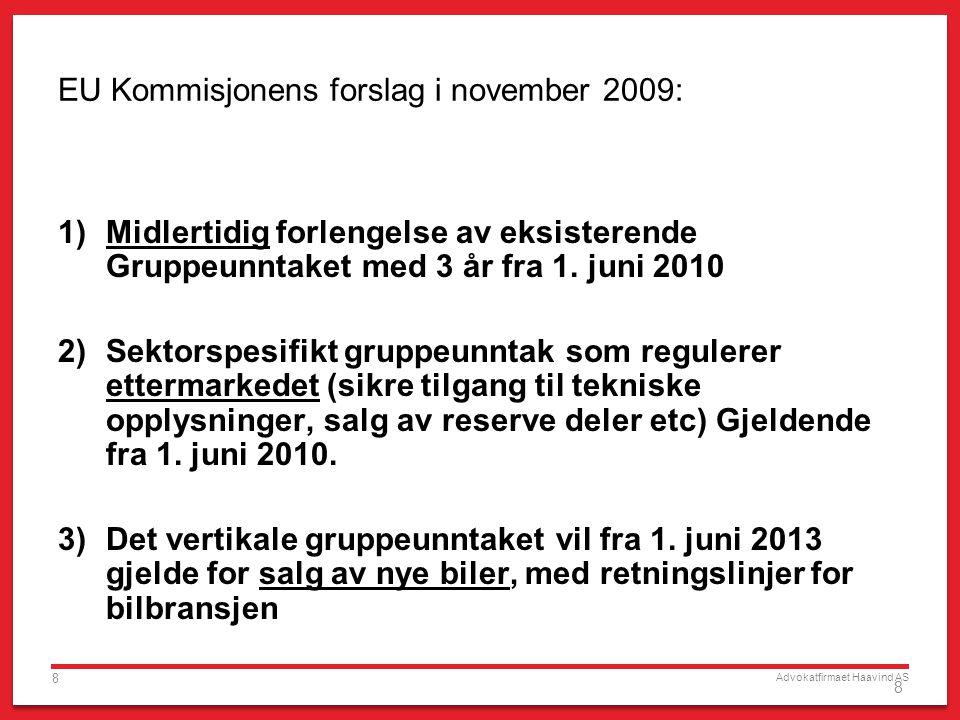 Advokatfirmaet Haavind AS 8 8 EU Kommisjonens forslag i november 2009: 1)Midlertidig forlengelse av eksisterende Gruppeunntaket med 3 år fra 1.