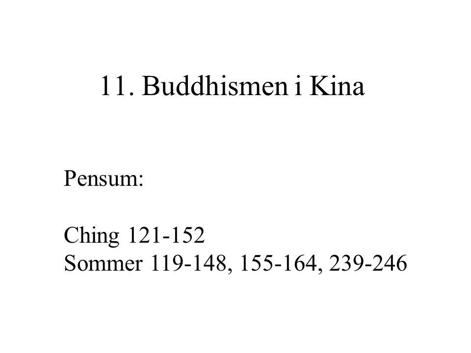 11. Buddhismen i Kina Pensum: Ching 121-152 Sommer 119-148, 155-164, 239-246