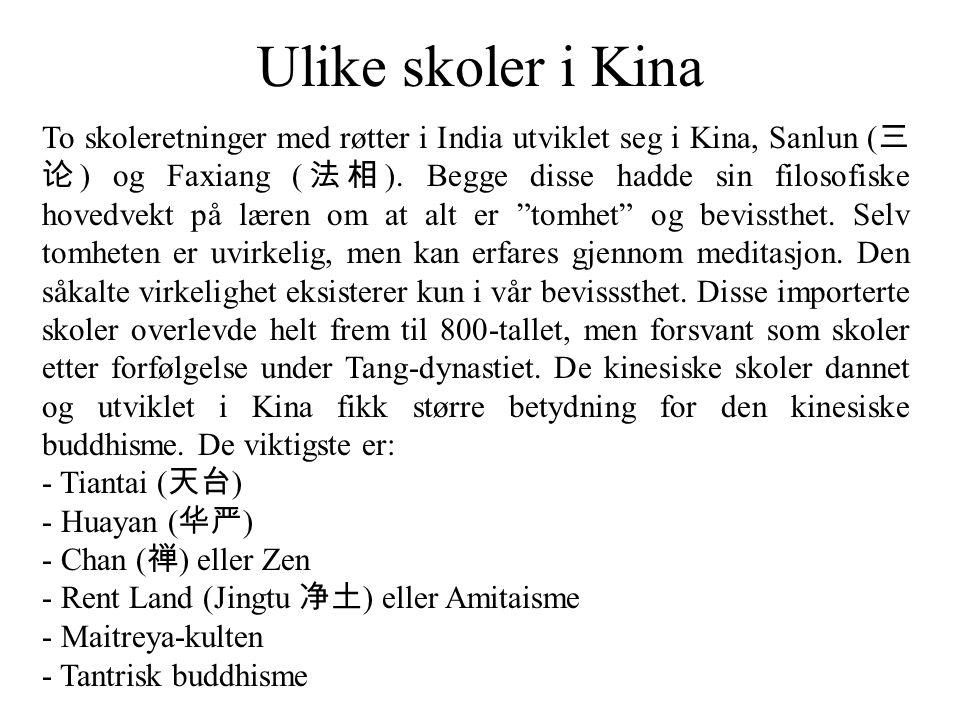 Ulike skoler i Kina To skoleretninger med røtter i India utviklet seg i Kina, Sanlun ( 三 论 ) og Faxiang ( 法相 ). Begge disse hadde sin filosofiske hove