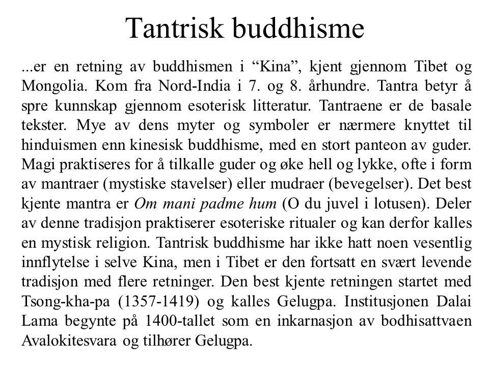 """Tantrisk buddhisme...er en retning av buddhismen i """"Kina"""", kjent gjennom Tibet og Mongolia. Kom fra Nord-India i 7. og 8. århundre. Tantra betyr å spr"""