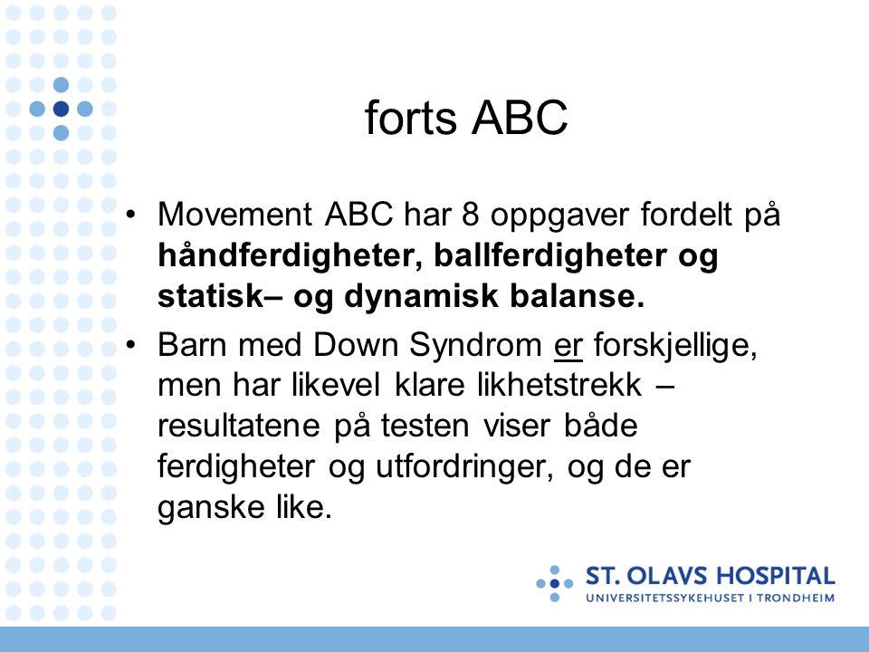 forts ABC Movement ABC har 8 oppgaver fordelt på håndferdigheter, ballferdigheter og statisk– og dynamisk balanse.