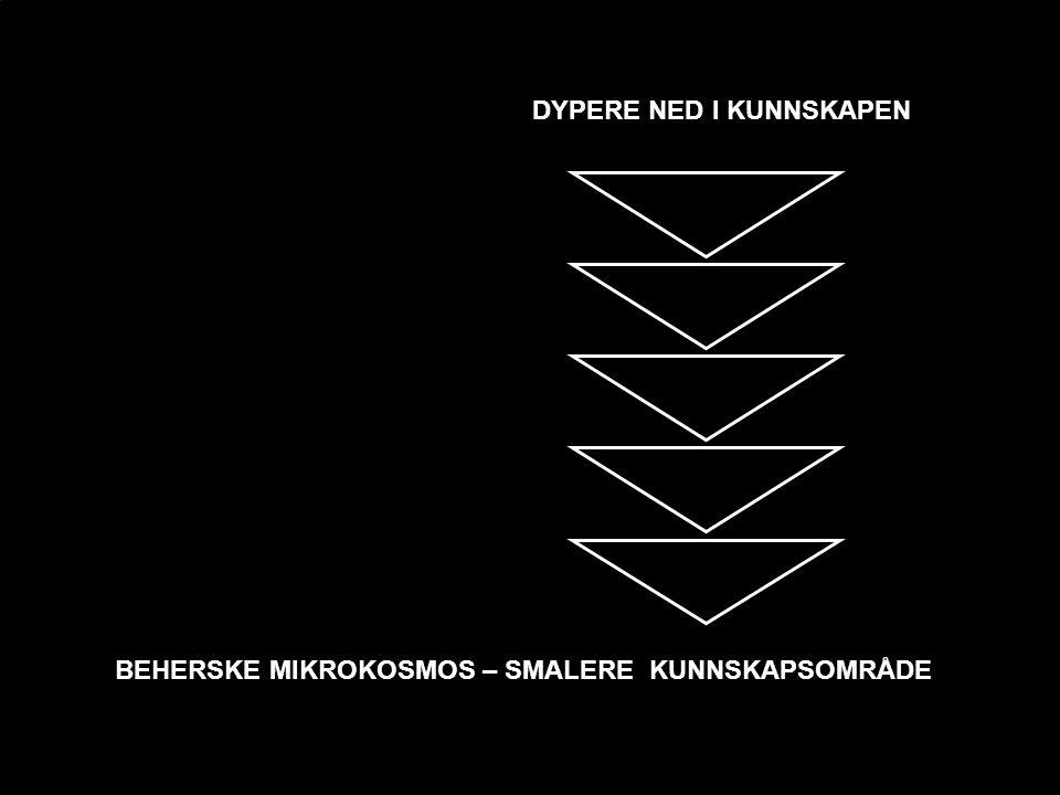 BEHERSKE MIKROKOSMOS – SMALERE KUNNSKAPSOMRÅDE DYPERE NED I KUNNSKAPEN