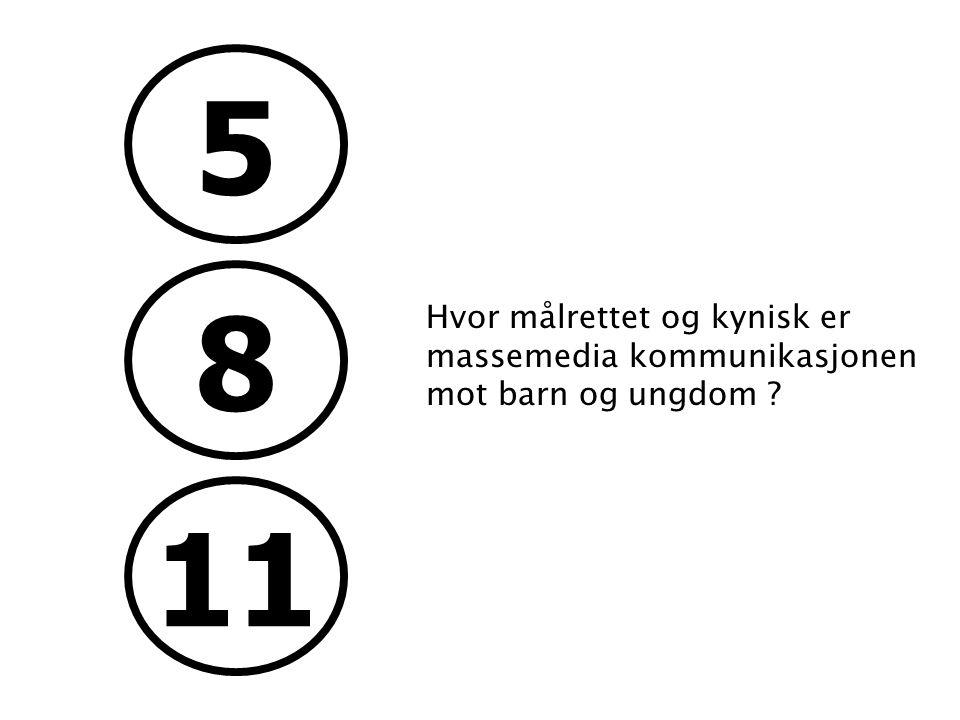 5 8 11 Hvor målrettet og kynisk er massemedia kommunikasjonen mot barn og ungdom ? Status: Omprofilering hovedkontor Aker Brygge