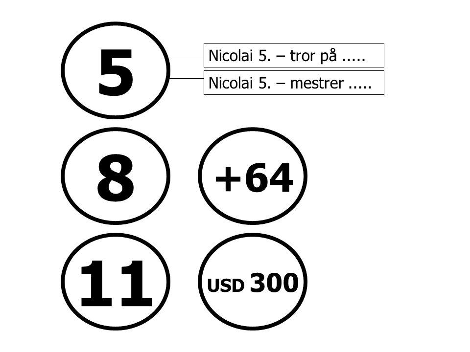 5 8 +64 11 USD 300 Nicolai 5. – tror på..... Nicolai 5. – mestrer..... Status: Omprofilering hovedkontor Aker Brygge