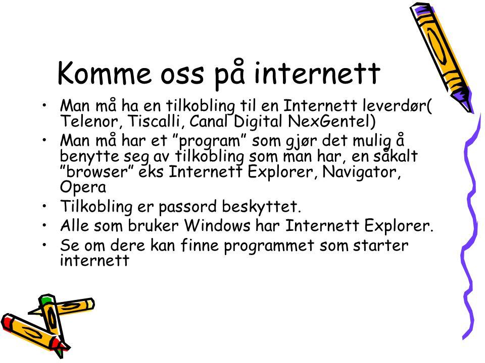 Komme oss på internett Man må ha en tilkobling til en Internett leverdør( Telenor, Tiscalli, Canal Digital NexGentel) Man må har et program som gjør det mulig å benytte seg av tilkobling som man har, en såkalt browser eks Internett Explorer, Navigator, Opera Tilkobling er passord beskyttet.