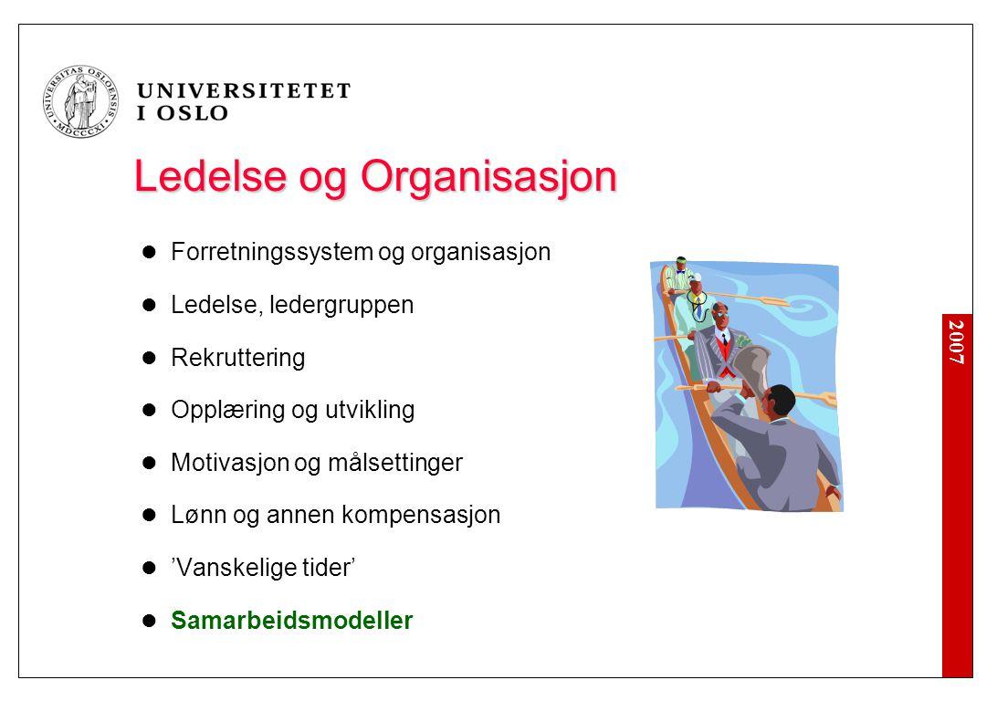 2007 Ledelse og Organisasjon Forretningssystem og organisasjon Ledelse, ledergruppen Rekruttering Opplæring og utvikling Motivasjon og målsettinger Lø
