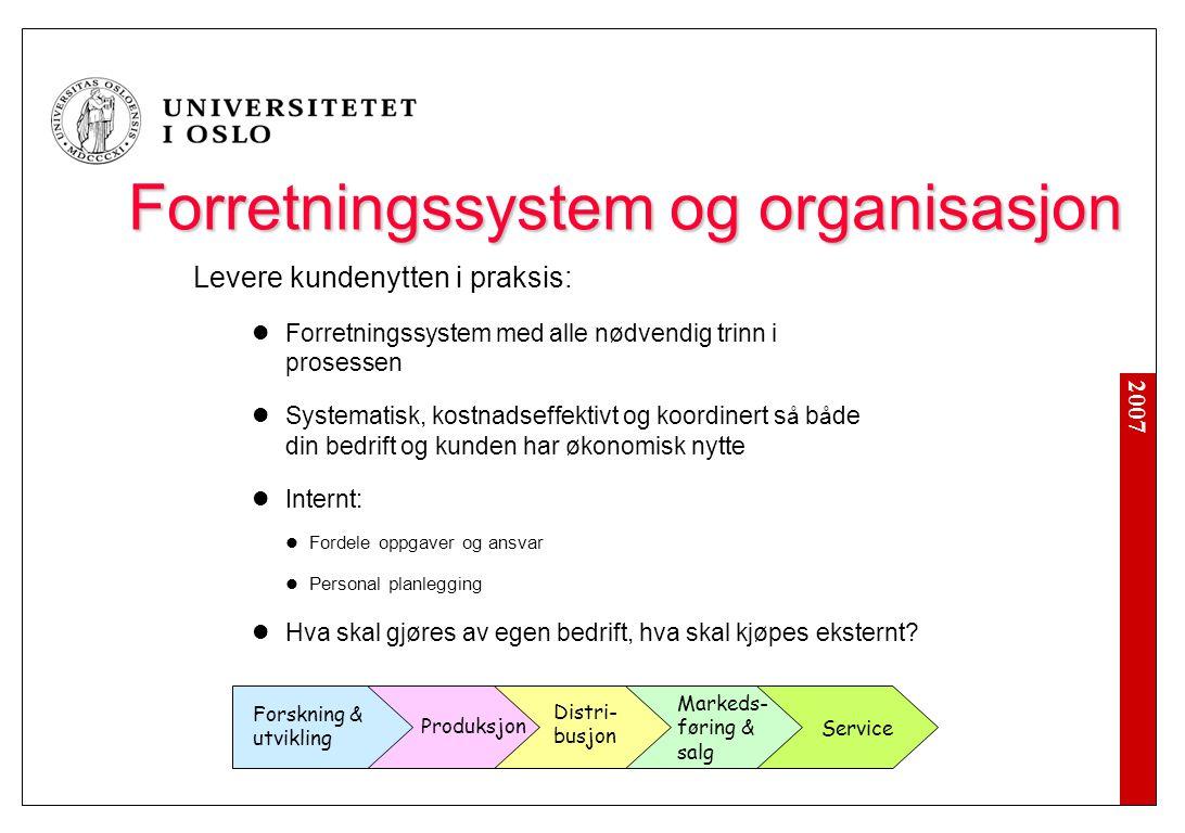 2007 Forretningssystem og organisasjon Levere kundenytten i praksis: Forretningssystem med alle nødvendig trinn i prosessen Systematisk, kostnadseffek