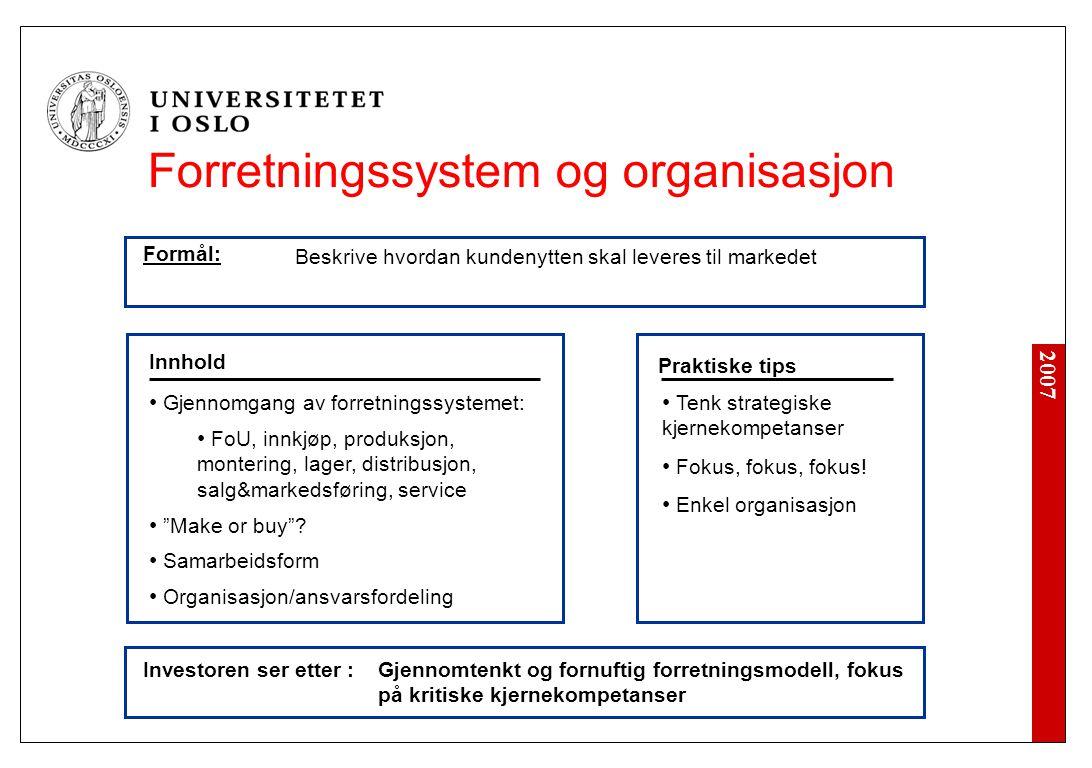 2007 Investoren ser etter : Tenk strategiske kjernekompetanser Fokus, fokus, fokus! Enkel organisasjon Innhold Praktiske tips Gjennomgang av forretnin