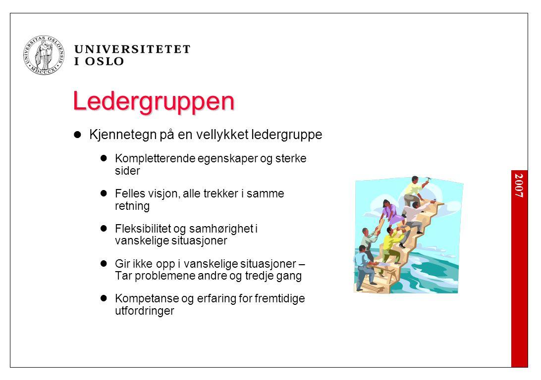 2007 Ledergruppen Kjennetegn på en vellykket ledergruppe Kompletterende egenskaper og sterke sider Felles visjon, alle trekker i samme retning Fleksib