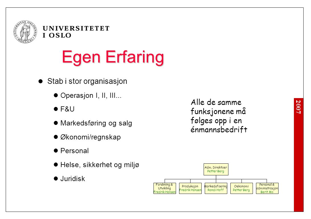 2007 Egen Erfaring Stab i stor organisasjon Operasjon I, II, III... F&U Markedsføring og salg Økonomi/regnskap Personal Helse, sikkerhet og miljø Juri