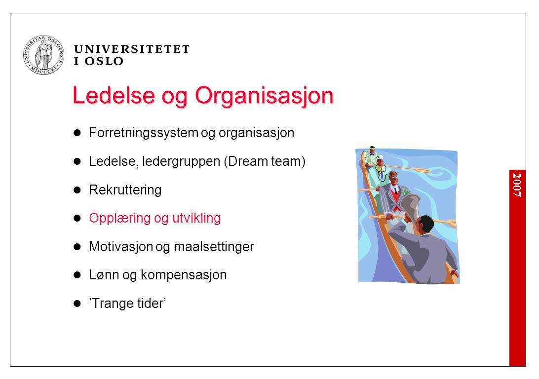 2007 Ledelse og Organisasjon Forretningssystem og organisasjon Ledelse, ledergruppen (Dream team) Rekruttering Opplæring og utvikling Motivasjon og ma