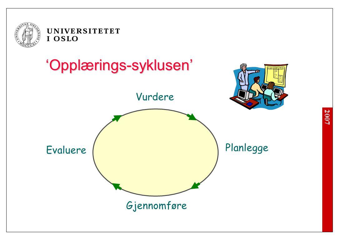 2007 'Opplærings-syklusen' Vurdere Planlegge Gjennomføre Evaluere