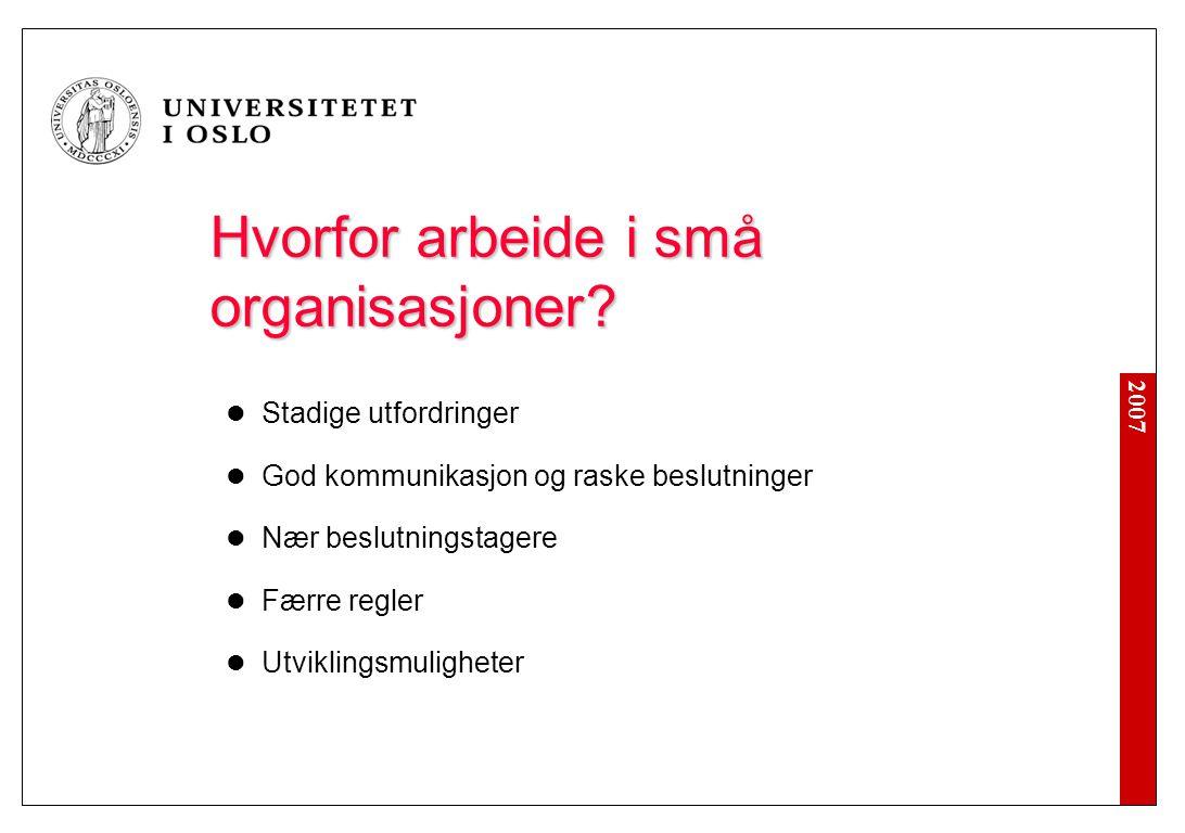 2007 Hvorfor arbeide i små organisasjoner? Stadige utfordringer God kommunikasjon og raske beslutninger Nær beslutningstagere Færre regler Utviklingsm
