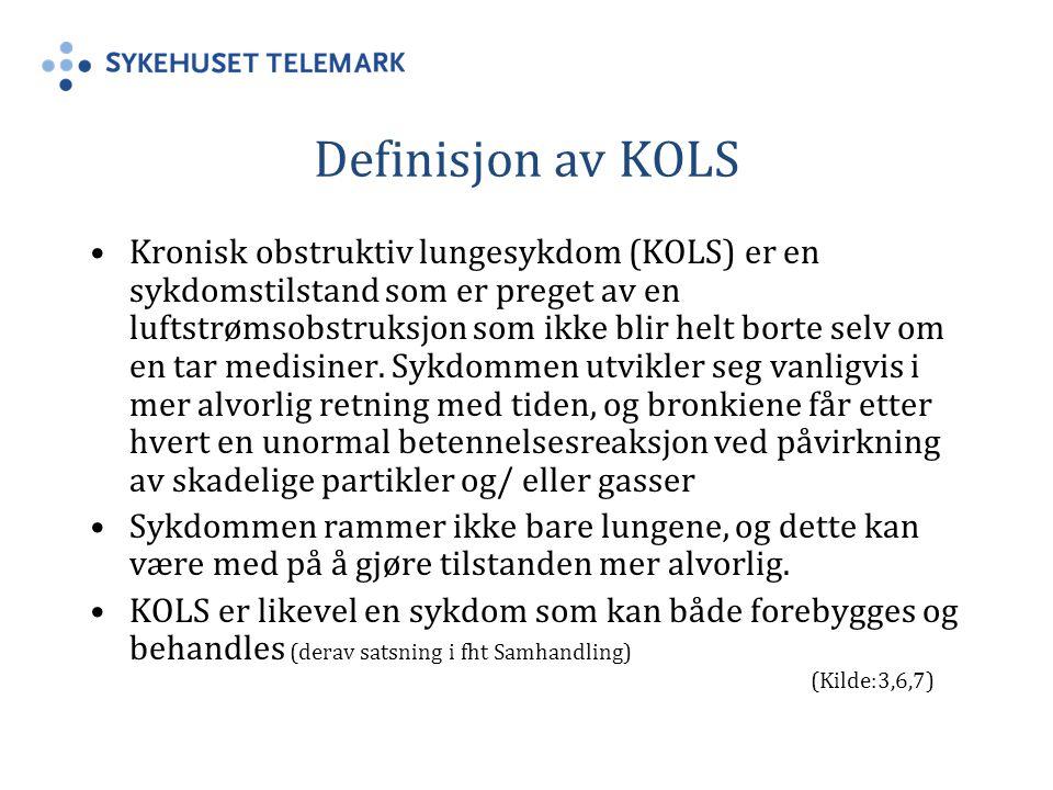 Definisjon av KOLS Kronisk obstruktiv lungesykdom (KOLS) er en sykdomstilstand som er preget av en luftstrømsobstruksjon som ikke blir helt borte selv om en tar medisiner.