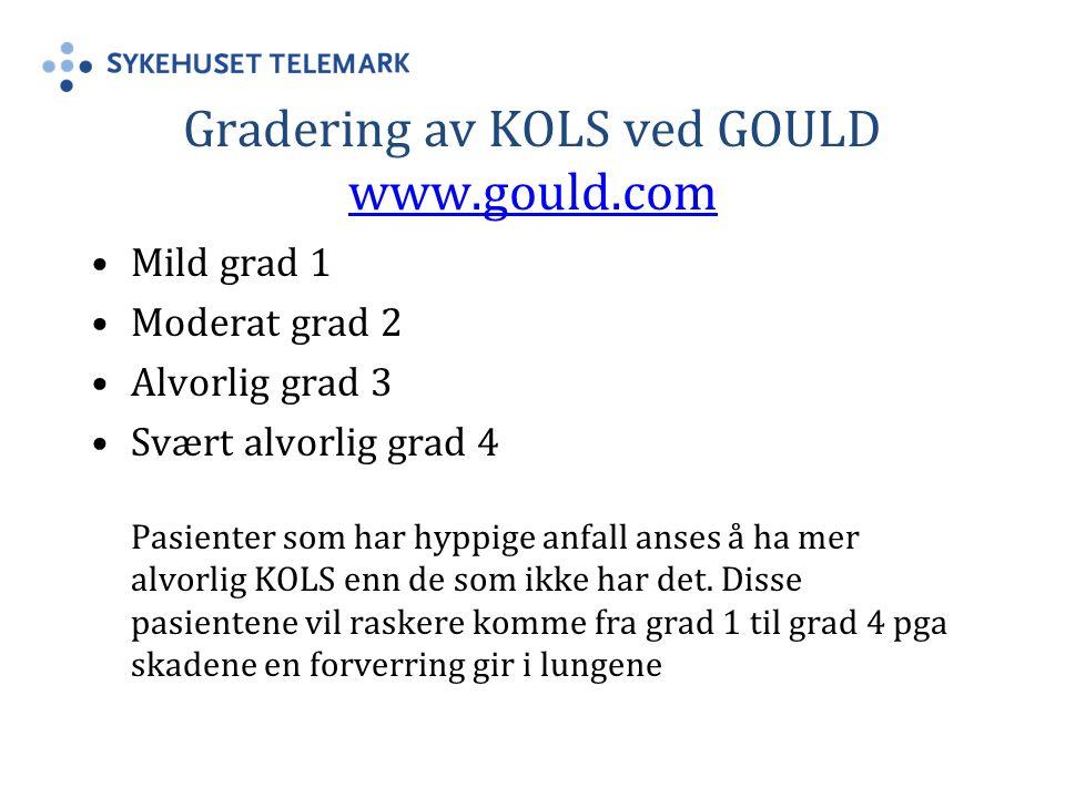 Gradering av KOLS ved GOULD www.gould.com www.gould.com Mild grad 1 Moderat grad 2 Alvorlig grad 3 Svært alvorlig grad 4 Pasienter som har hyppige anfall anses å ha mer alvorlig KOLS enn de som ikke har det.