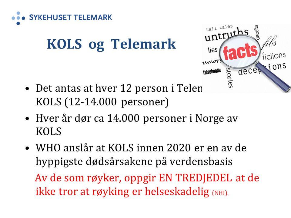 KOLS og Telemark Det antas at hver 12 person i Telemark har KOLS (12-14.000 personer) Hver år dør ca 14.000 personer i Norge av KOLS WHO anslår at KOLS innen 2020 er en av de hyppigste dødsårsakene på verdensbasis Av de som røyker, oppgir EN TREDJEDEL at de ikke tror at røyking er helseskadelig (NHI).