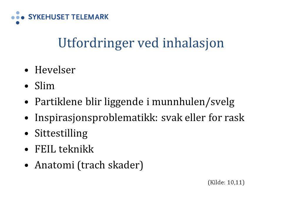 Utfordringer ved inhalasjon Hevelser Slim Partiklene blir liggende i munnhulen/svelg Inspirasjonsproblematikk: svak eller for rask Sittestilling FEIL teknikk Anatomi (trach skader) (Kilde: 10,11)