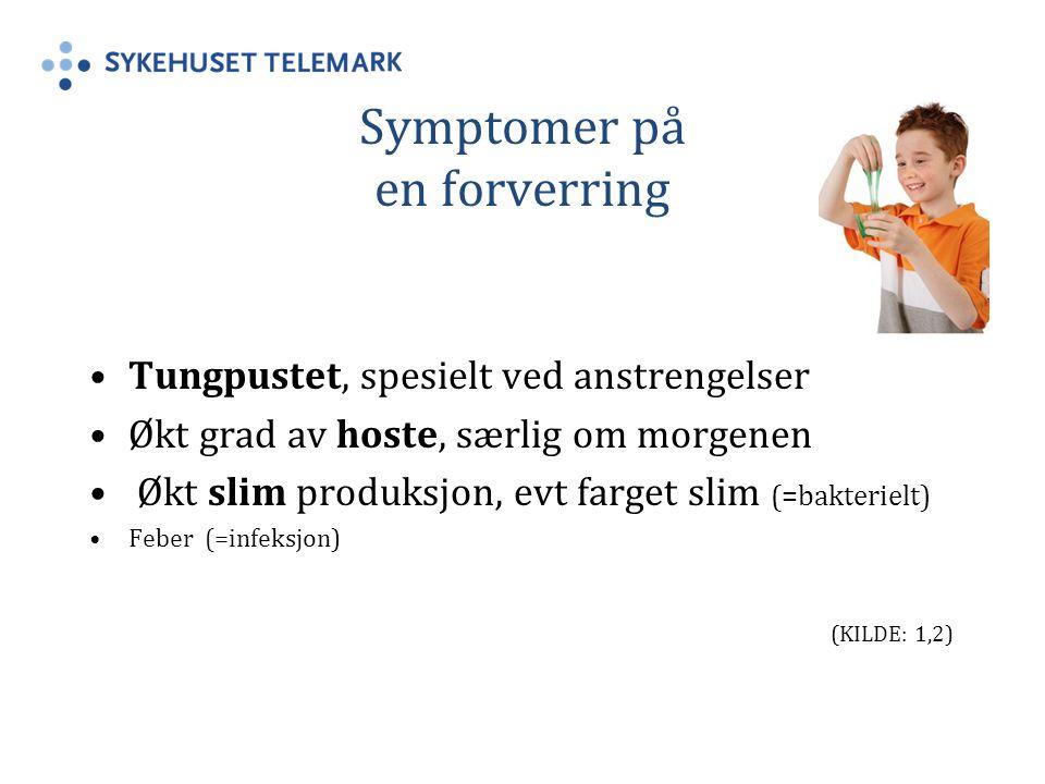 Symptomer på en forverring Tungpustet, spesielt ved anstrengelser Økt grad av hoste, særlig om morgenen Økt slim produksjon, evt farget slim (=bakterielt) Feber (=infeksjon) (KILDE: 1,2)