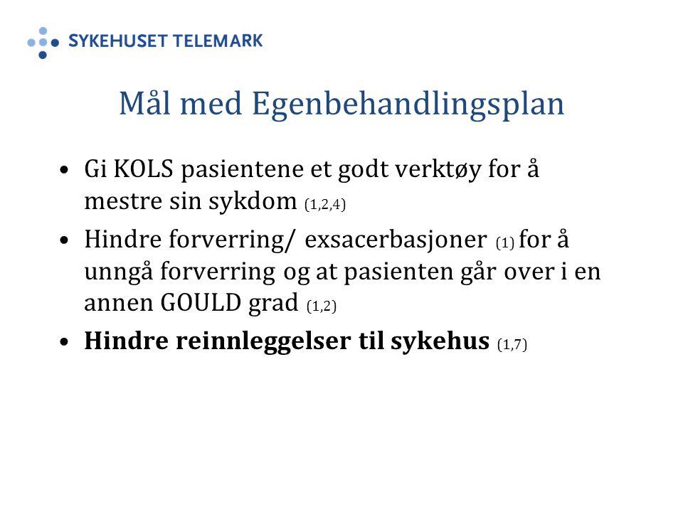 Mål med Egenbehandlingsplan Gi KOLS pasientene et godt verktøy for å mestre sin sykdom (1,2,4) Hindre forverring/ exsacerbasjoner (1) for å unngå forverring og at pasienten går over i en annen GOULD grad (1,2) Hindre reinnleggelser til sykehus (1,7)