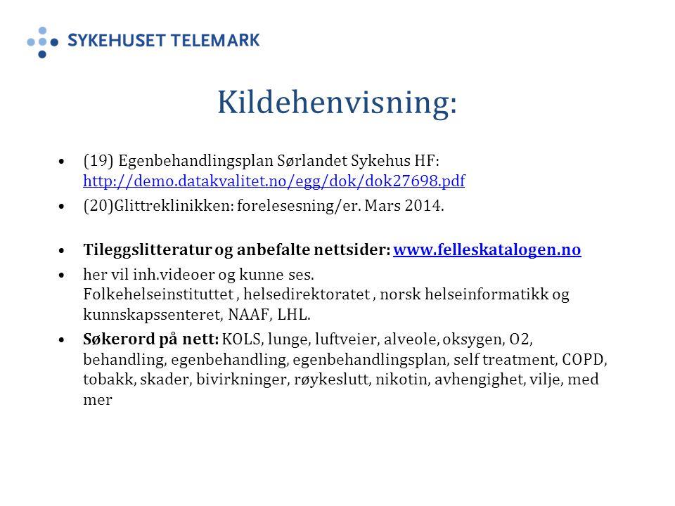 Kildehenvisning: (19) Egenbehandlingsplan Sørlandet Sykehus HF: http://demo.datakvalitet.no/egg/dok/dok27698.pdf http://demo.datakvalitet.no/egg/dok/dok27698.pdf (20)Glittreklinikken: forelesesning/er.