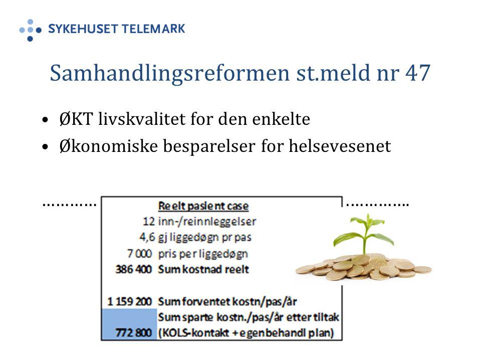 Erfaringer forts: KOLS egenbehandlingsplan har blitt brukt systematisk ved flere helseforetak i Norge i en tiårsperiode Det er ingen kjente eller registrerte dødsfall som er rapportert i forbindelse med bruk av egenbehandlingsplan Snarere tvert i mot, det rapporteres redusert exacerbasjoner og økt livskvalitet for den enkelte bruker LMS/STHF KOLS skole 2004-201, utført i Skien, (16) Glittre klinikken, (19) Sørlandet Sykehus HF 4)
