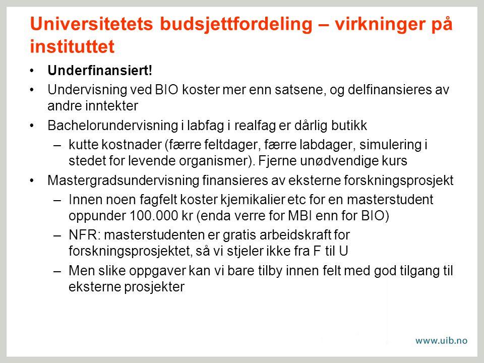 Universitetets budsjettfordeling – virkninger på instituttet Underfinansiert.