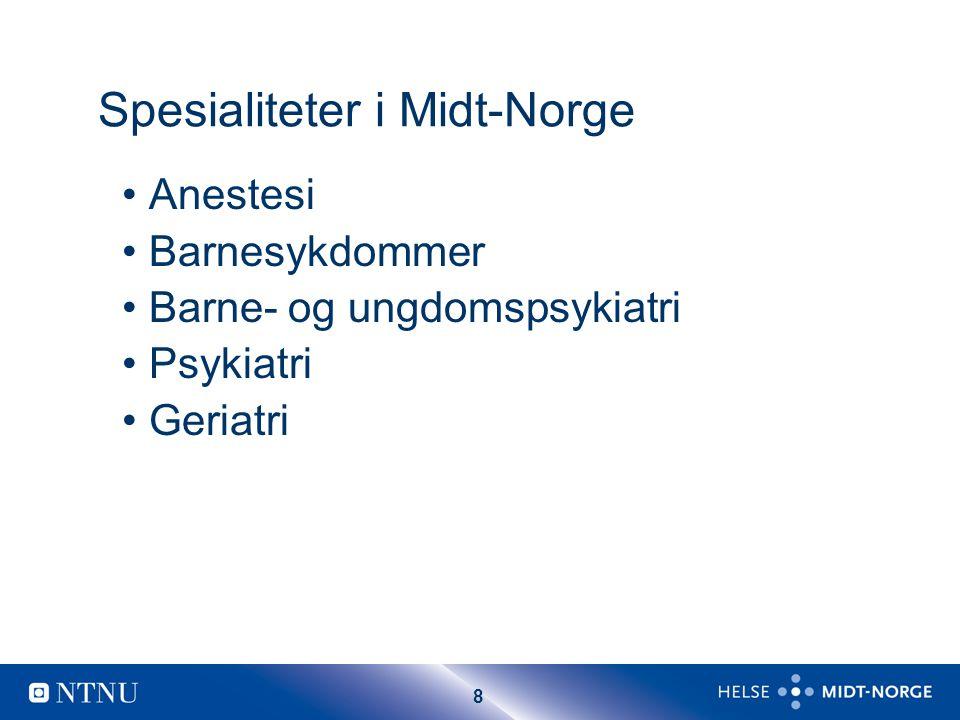 8 Spesialiteter i Midt-Norge Anestesi Barnesykdommer Barne- og ungdomspsykiatri Psykiatri Geriatri