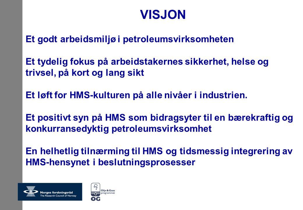 VISJON Et godt arbeidsmiljø i petroleumsvirksomheten Et tydelig fokus på arbeidstakernes sikkerhet, helse og trivsel, på kort og lang sikt Et løft for HMS-kulturen på alle nivåer i industrien.