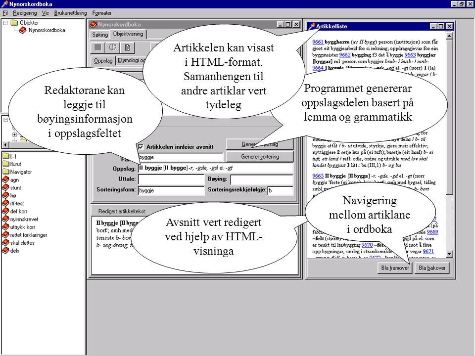 Programmet genererar oppslagsdelen basert på lemma og grammatikk Redaktørane kan leggje til bøyingsinformasjon i oppslagsfeltet Artikkelen kan visast i HTML-format.
