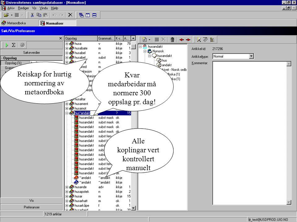 Reiskap for hurtig normering av metaordboka Kvar medarbeidar må normere 300 oppslag pr.