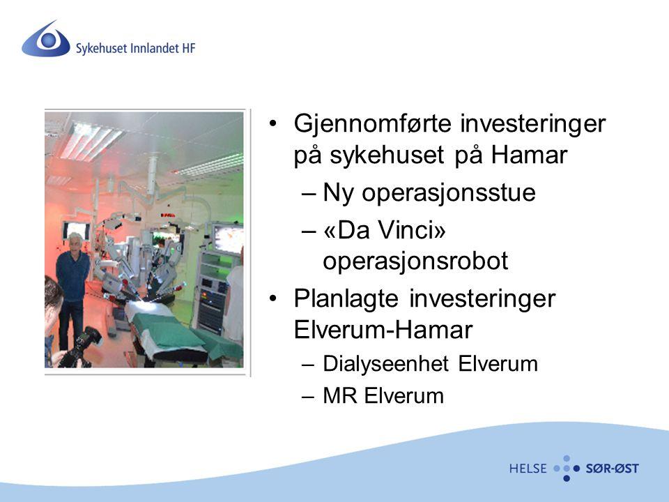 Gjennomførte investeringer på sykehuset på Hamar –Ny operasjonsstue –«Da Vinci» operasjonsrobot Planlagte investeringer Elverum-Hamar –Dialyseenhet Elverum –MR Elverum