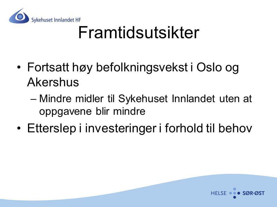 Framtidsutsikter Fortsatt høy befolkningsvekst i Oslo og Akershus –Mindre midler til Sykehuset Innlandet uten at oppgavene blir mindre Etterslep i investeringer i forhold til behov