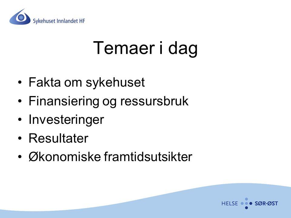 Temaer i dag Fakta om sykehuset Finansiering og ressursbruk Investeringer Resultater Økonomiske framtidsutsikter