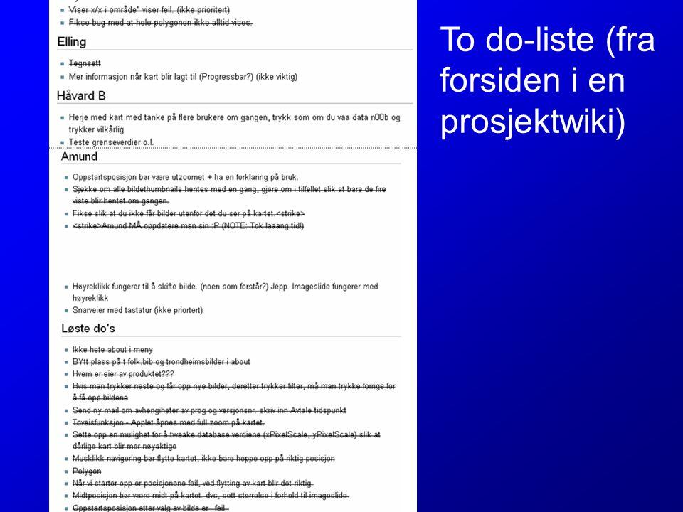 To do-liste (fra forsiden i en prosjektwiki)