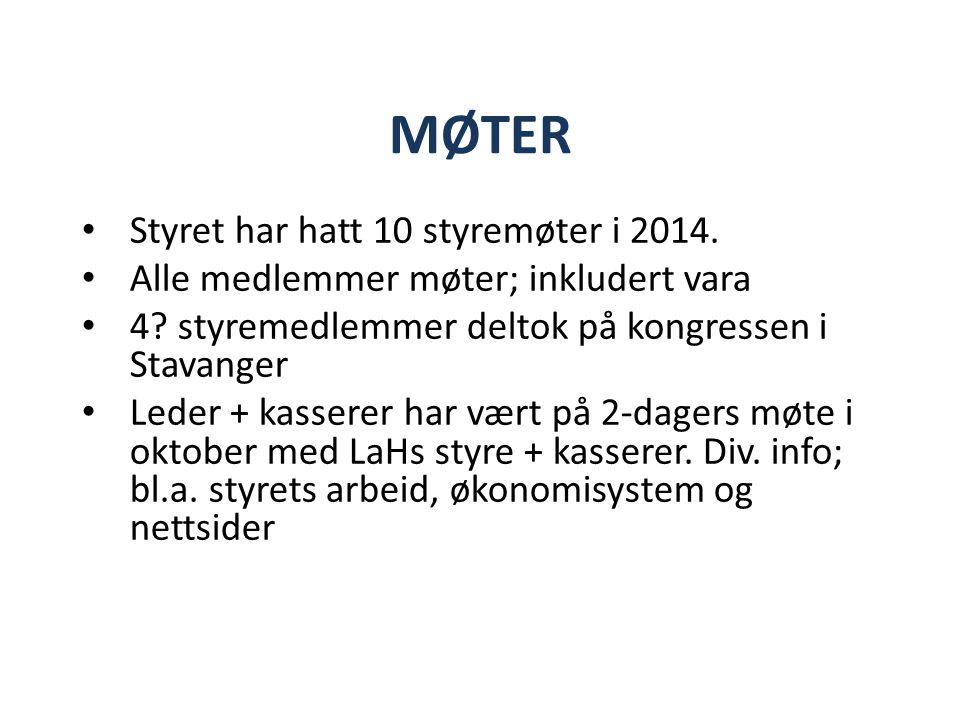 MØTER Styret har hatt 10 styremøter i 2014. Alle medlemmer møter; inkludert vara 4.
