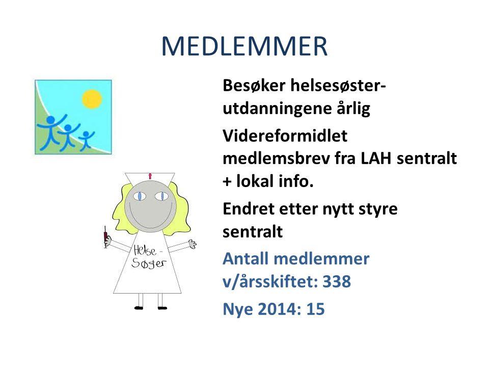 MEDLEMMER Besøker helsesøster- utdanningene årlig Videreformidlet medlemsbrev fra LAH sentralt + lokal info.