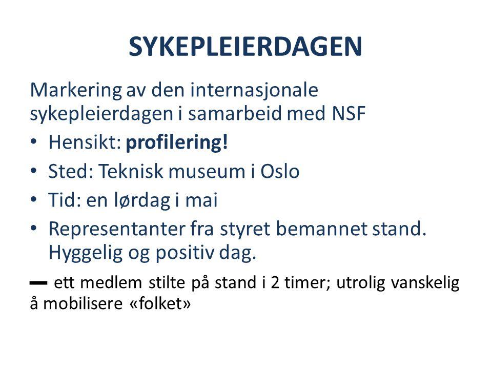 SYKEPLEIERDAGEN Markering av den internasjonale sykepleierdagen i samarbeid med NSF Hensikt: profilering.