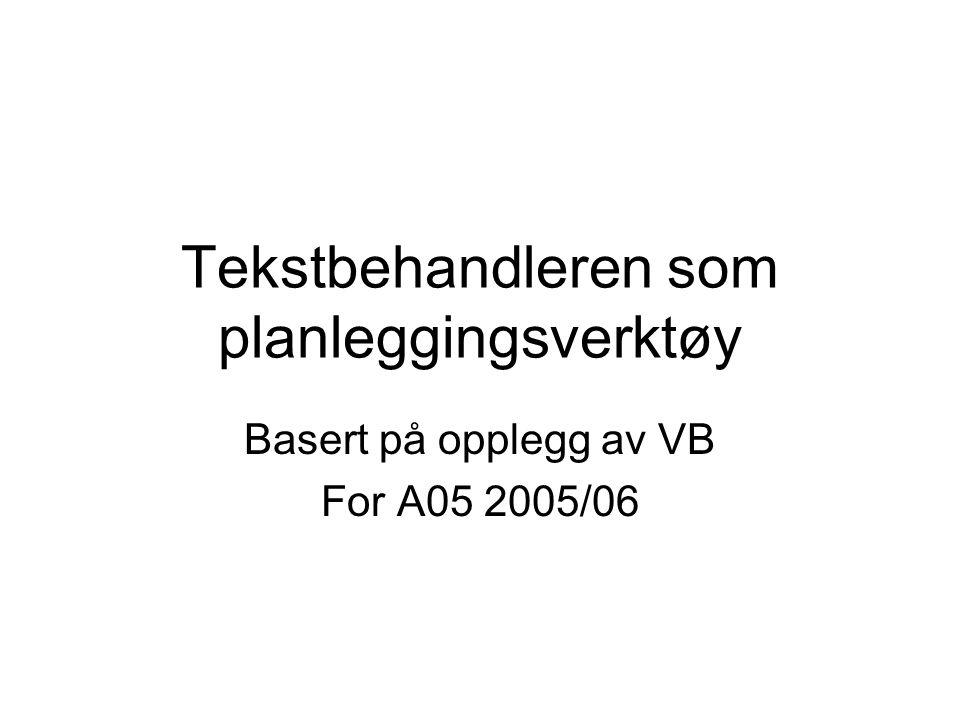 Tekstbehandleren som planleggingsverktøy Basert på opplegg av VB For A05 2005/06