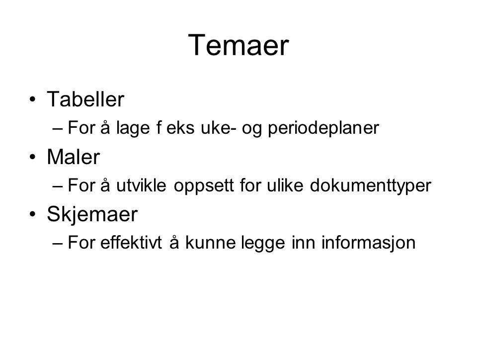 Temaer Tabeller –For å lage f eks uke- og periodeplaner Maler –For å utvikle oppsett for ulike dokumenttyper Skjemaer –For effektivt å kunne legge inn informasjon