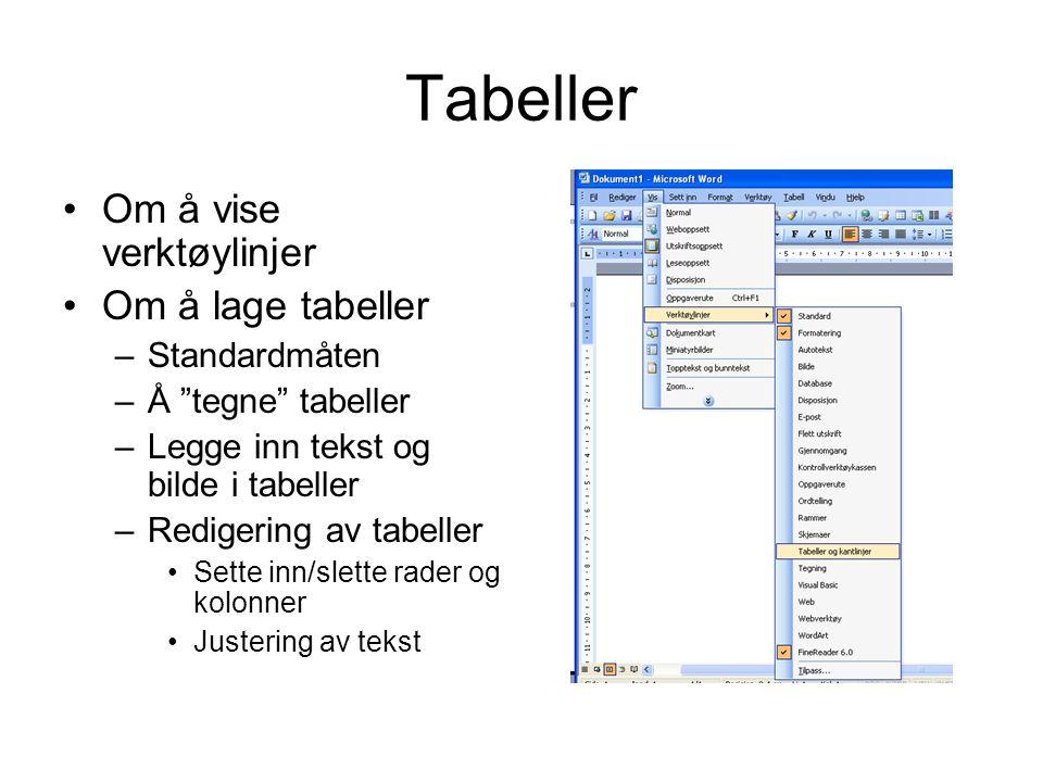 Tabeller Om å vise verktøylinjer Om å lage tabeller –Standardmåten –Å tegne tabeller –Legge inn tekst og bilde i tabeller –Redigering av tabeller Sette inn/slette rader og kolonner Justering av tekst