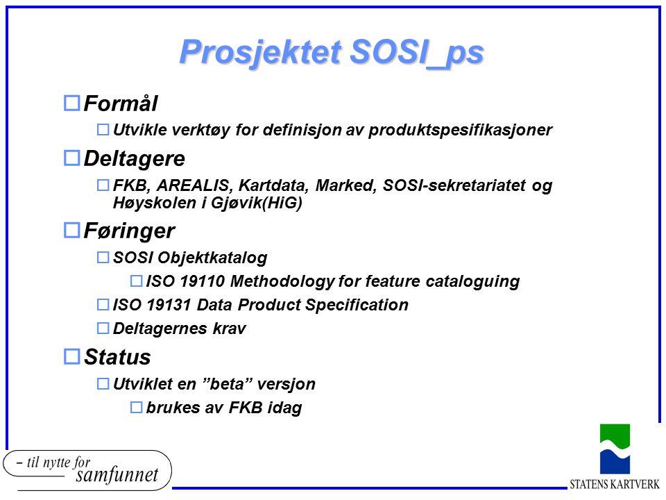 Prosjektet SOSI_ps oFormål oUtvikle verktøy for definisjon av produktspesifikasjoner oDeltagere oFKB, AREALIS, Kartdata, Marked, SOSI-sekretariatet og