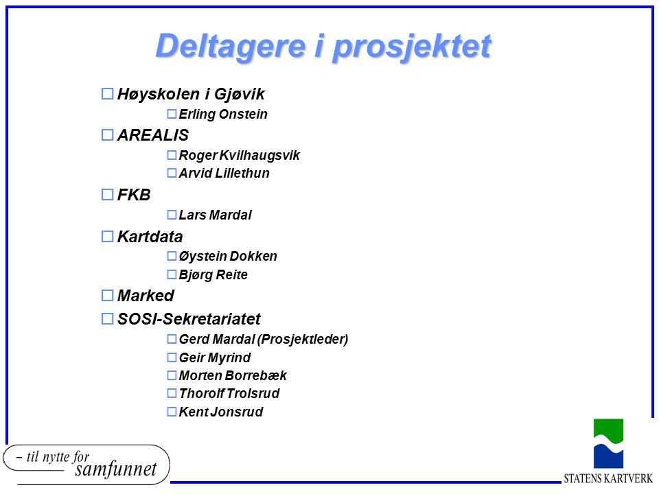 Deltagere i prosjektet oHøyskolen i Gjøvik oErling Onstein oAREALIS oRoger Kvilhaugsvik oArvid Lillethun oFKB oLars Mardal oKartdata oØystein Dokken o
