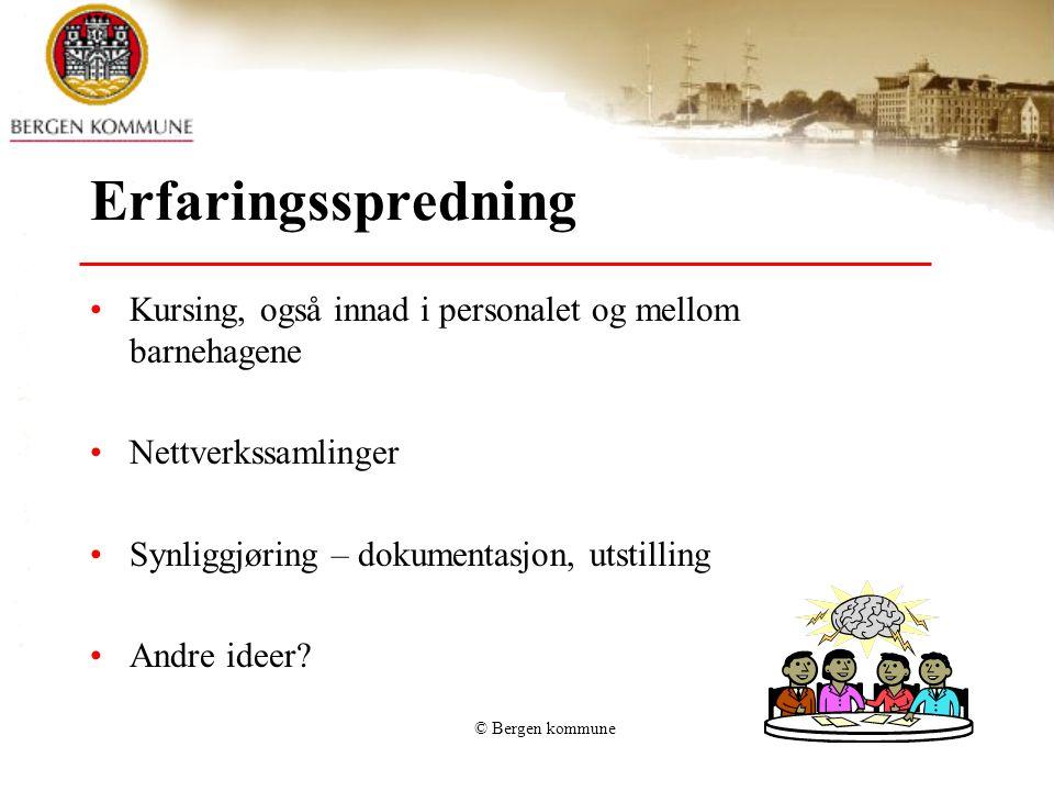 © Bergen kommune Erfaringsspredning Kursing, også innad i personalet og mellom barnehagene Nettverkssamlinger Synliggjøring – dokumentasjon, utstillin