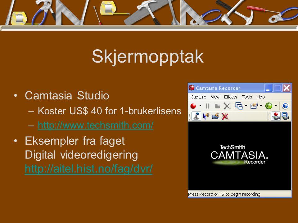 Skjermopptak Camtasia Studio –Koster US$ 40 for 1-brukerlisens –http://www.techsmith.com/http://www.techsmith.com/ Eksempler fra faget Digital videoredigering http://aitel.hist.no/fag/dvr/ http://aitel.hist.no/fag/dvr/