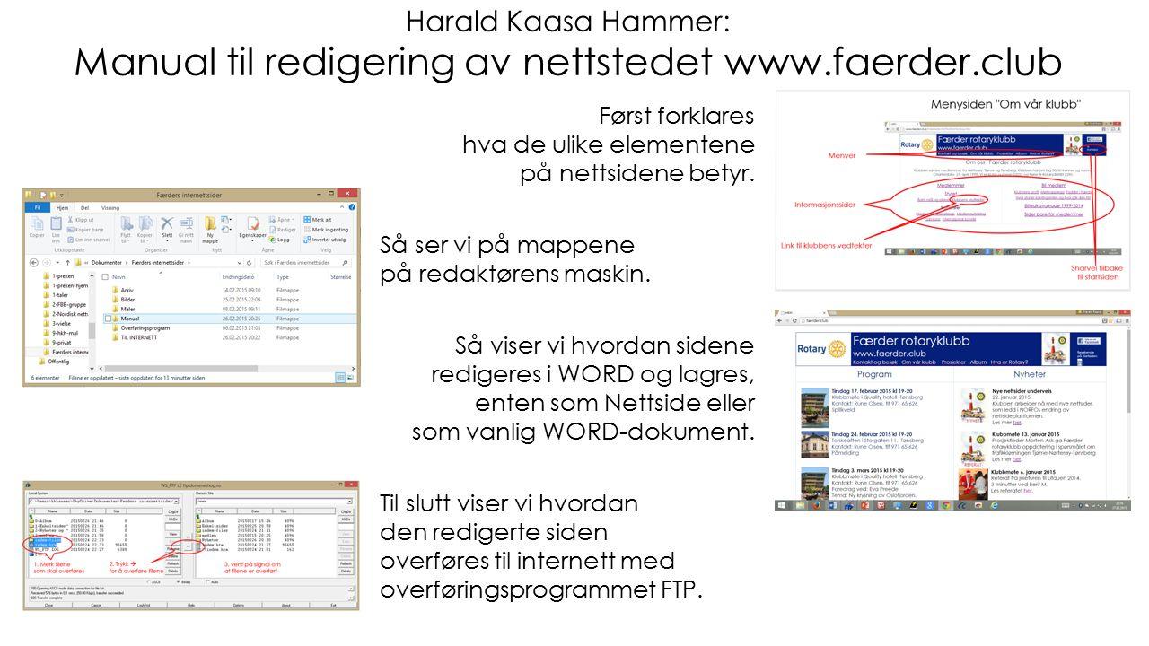 Harald Kaasa Hammer: Manual til redigering av nettstedet www.faerder.club Først forklares hva de ulike elementene på nettsidene betyr. Så ser vi på ma